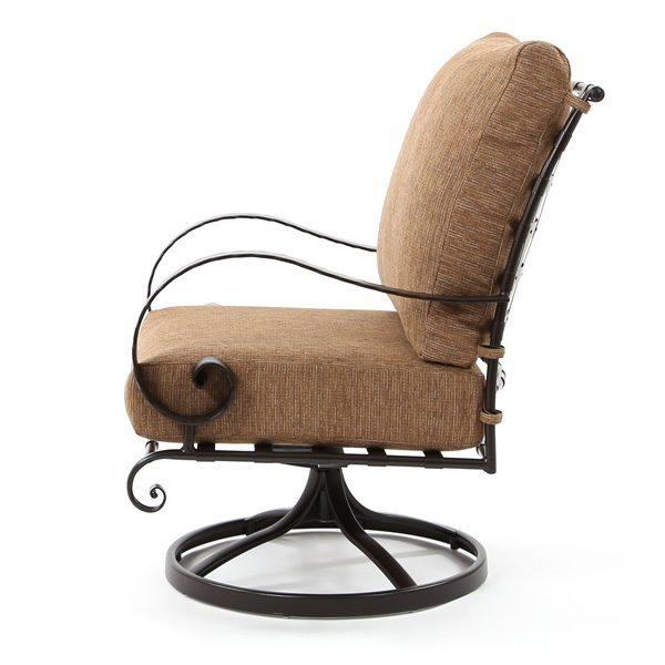 Classico outdoor swivel rocker club chair side view