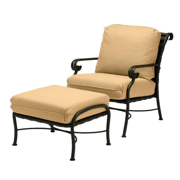 Woodard Ramsgate strap club chair and ottoman