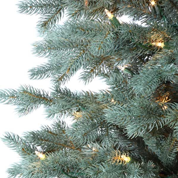 9' Colorado Blue Spruce Artificial Chistmas Tree - Clear Lights Close Up
