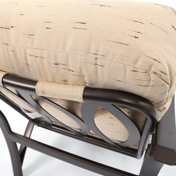 Tropitone Corsica club chair with Harvest Mist Sunbrella fabrics