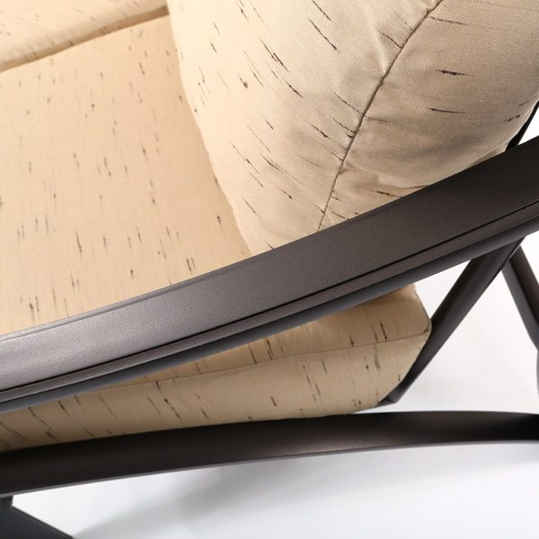 Tropitone Corsica crescent loveseat with an aluminum frame with a Espresso powder coat finish