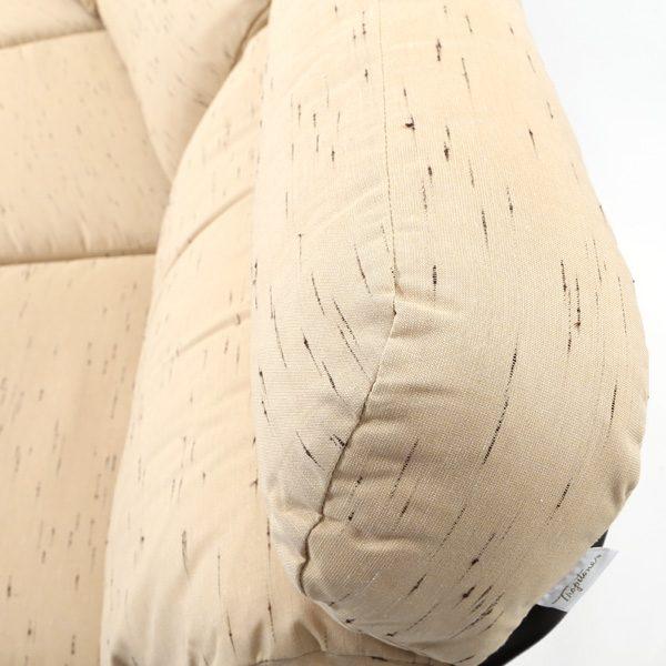 Tropitone Corsica curved sofa with Sunbrella Harvest Mist cushions