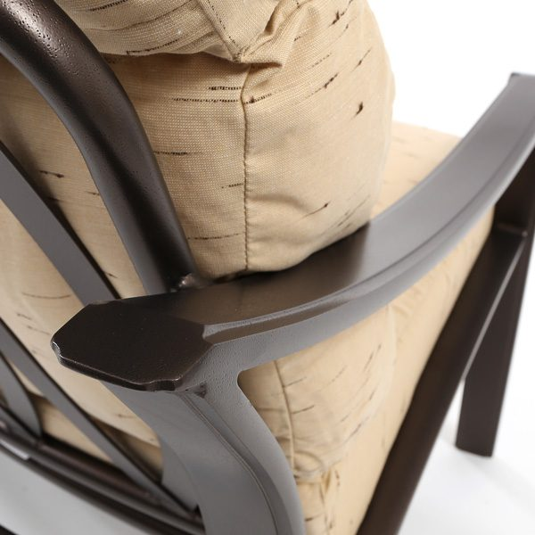 Tropitone Corsica aluminum crescent sofa with a Espresso powder coat finish