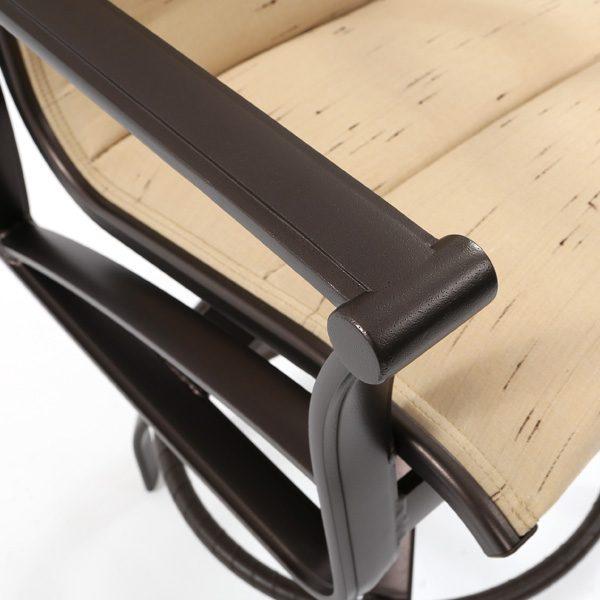 Tropitone Corsica padded sling aluminum swivel barstool with an Espresso powder coat finish