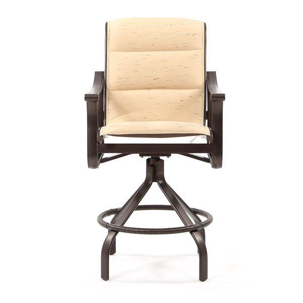 Tropitone Corsica padded sling aluminum swivel bar stool front view
