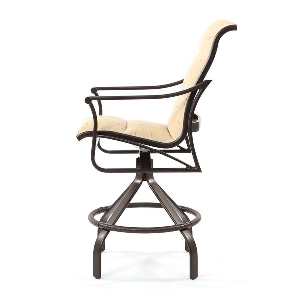 Corsica outdoor padded sling swivel bar stool side view