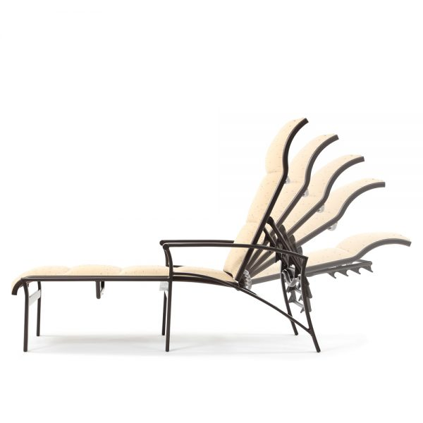 Corsica aluminum padded sling outdoor chaise lounge back view