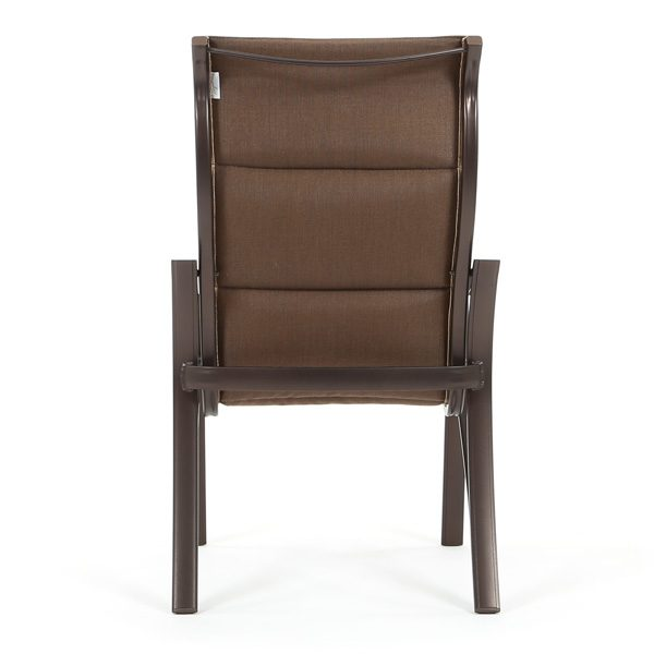 Corsica padded sling aluminum high back dining chair back view