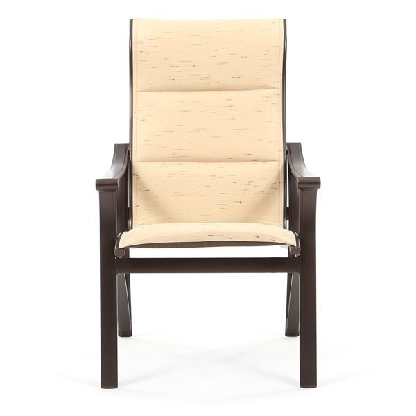 Tropitone Corsica padded sling high back aluminum dining chair front view