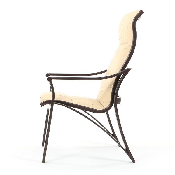Corsica padded sling outdoor dining chair side view
