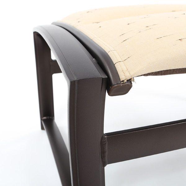 Tropitone Corsica padded sling aluminum ottoman with an Espresso powder coat finish