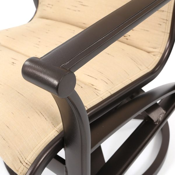 Tropitone Corsica padded sling aluminum furniture with a Espresso powder coat finish