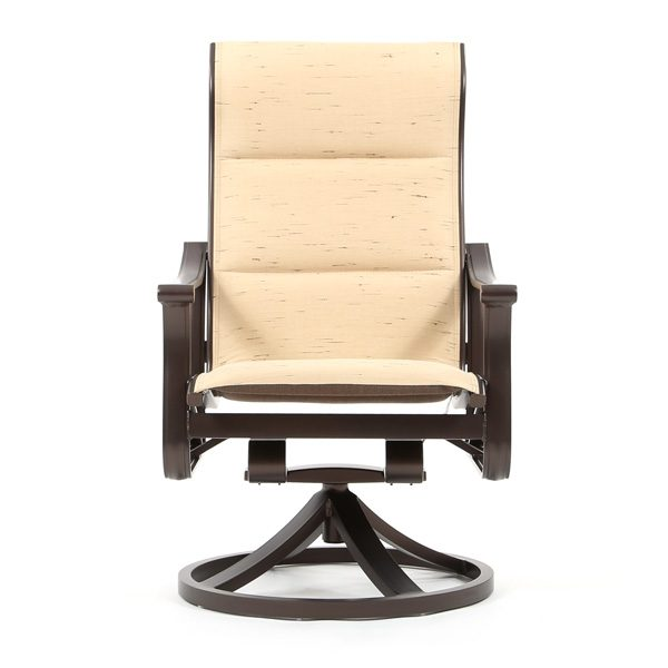Tropitone Corsica padded sling high back swivel rocker dining chair front view