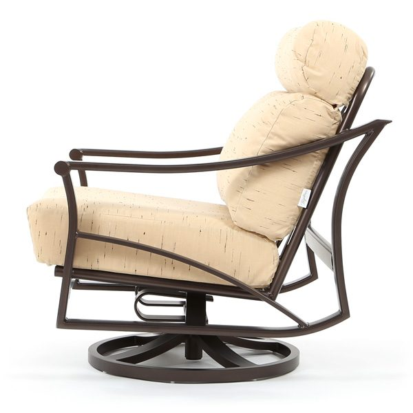 Corsica aluminum swivel action lounge chair side view