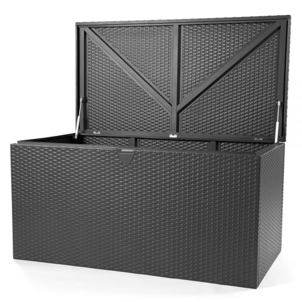 Outdoor pillow storage box with lid open
