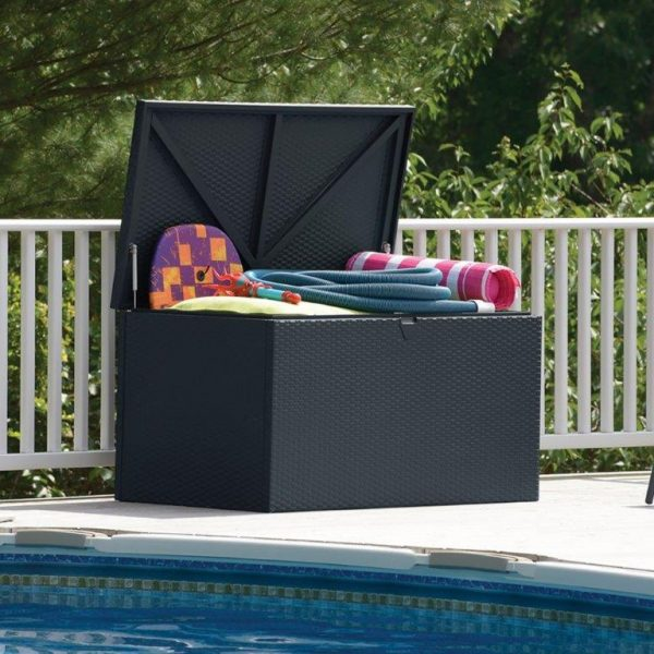 Outdoor storage deck box with toys