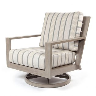 Destin swivel rocker club chair with Cove Pebble cushions
