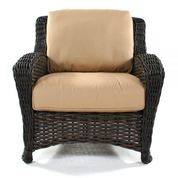 Ebel Dreux outdoor wicker club chair front view