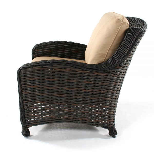 Dreux wicker patio club chair side view