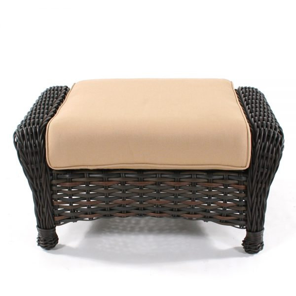 Ebel Dreux outdoor wicker ottoman front view