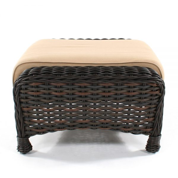 Dreux wicker patio ottoman side view