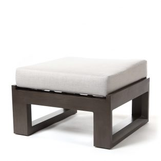 Denmark ottoman with Cast Silver fabric