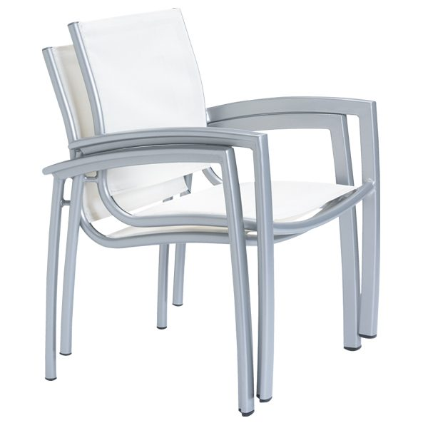 South Beach sling dining chairs stacked