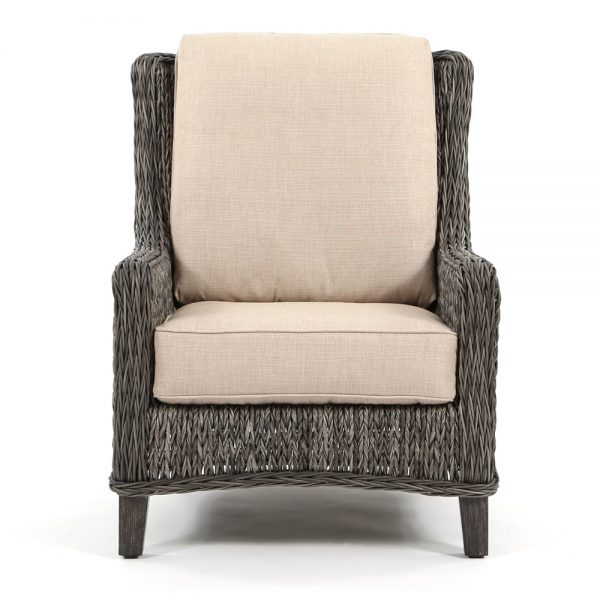 Ebel Geneva wicker patio lounge chair front view