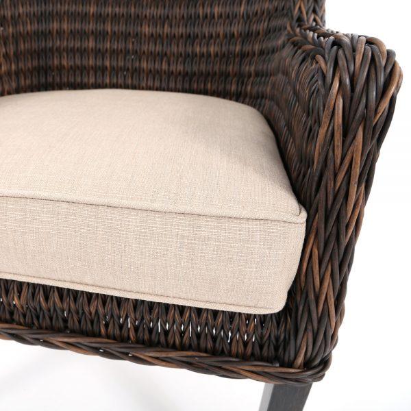 Ebel Geneva patio dining chair with Echo Dune Sunbrella fabric
