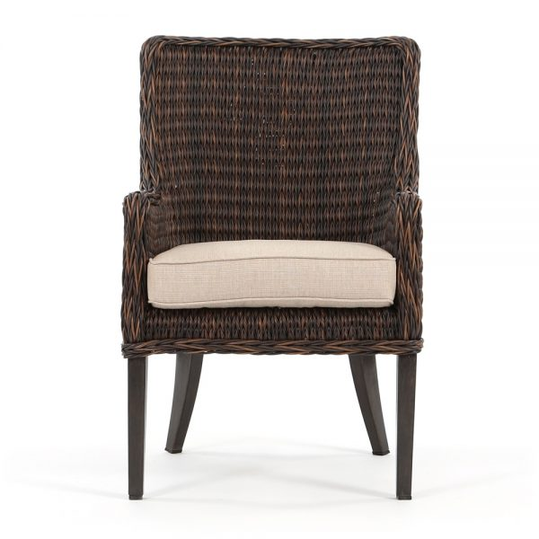 Ebel Geneva outdoor wicker dining arm chair front view