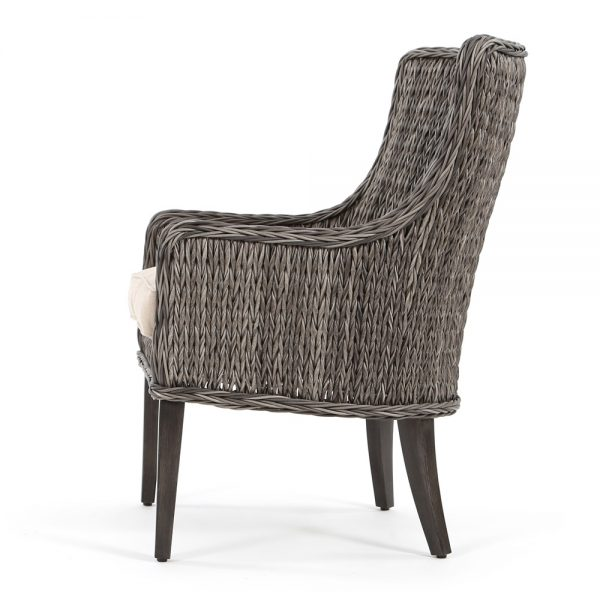 Geneva outdoor wicker dining chair side view