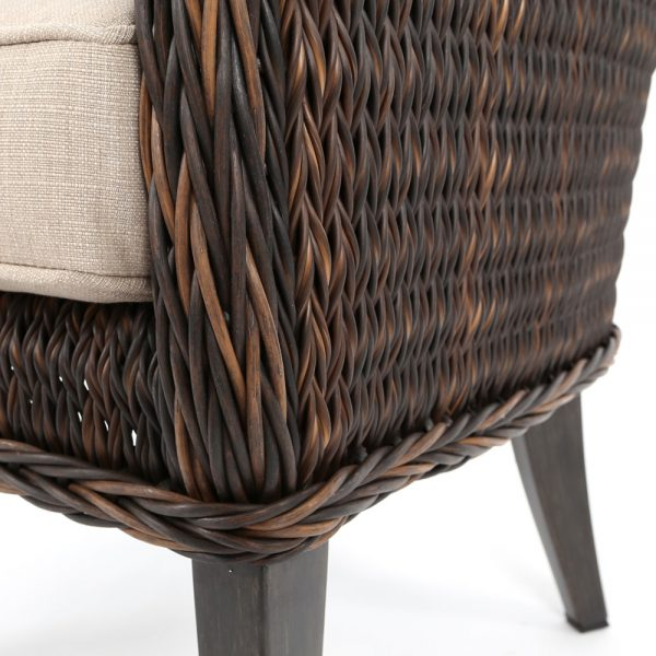 Ebel Geneva wicker dining chair with a Chestnut finish