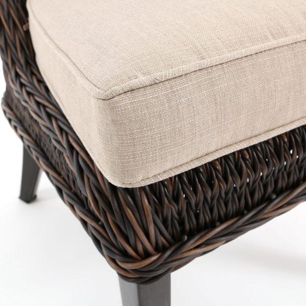 Ebel Geneva dining side chair with Echo Dune Sunbrella fabric