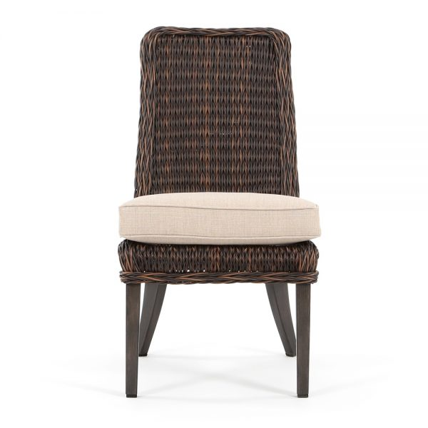 Geneva wicker patio dining chair front view