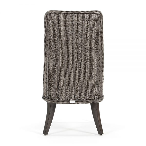 Geneva outdoor wicker dining side chair back view