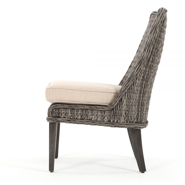 Geneva patio wicker dining side chair side view