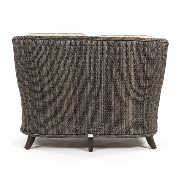 Geneva wicker patio love seat back view