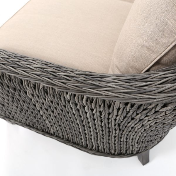 Ebel Geneva wicker loveseat with a Smoke finish