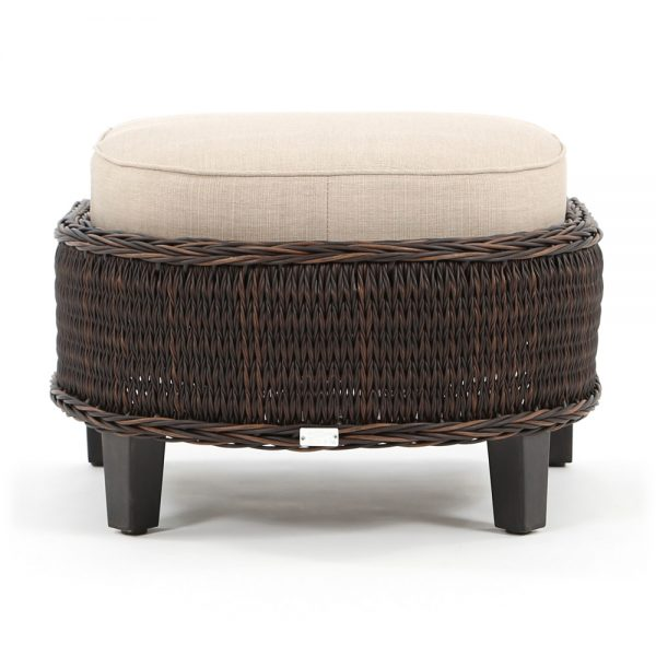 Geneva outdoor wicker ottoman back view