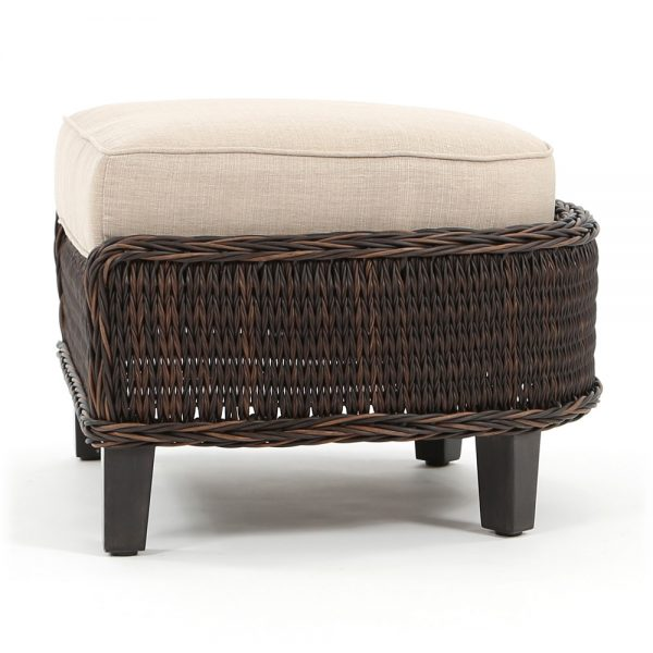 Geneva wicker patio ottoman side view
