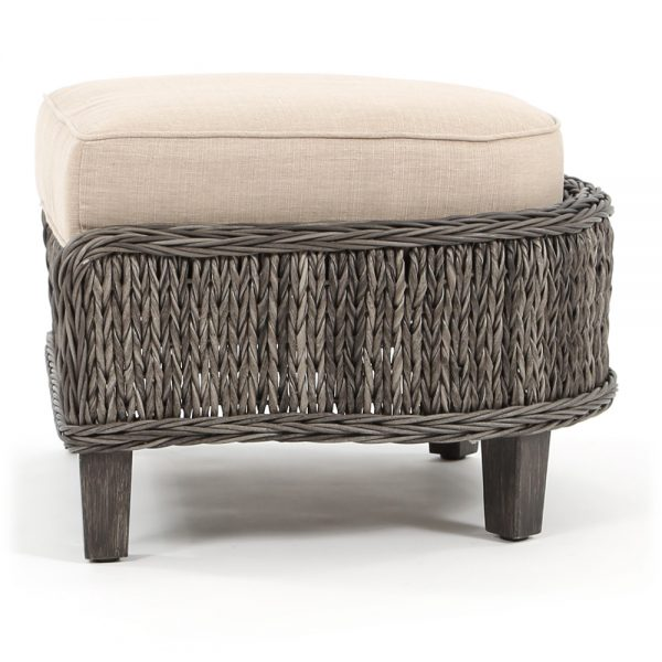 Geneva outdoor wicker ottoman side view