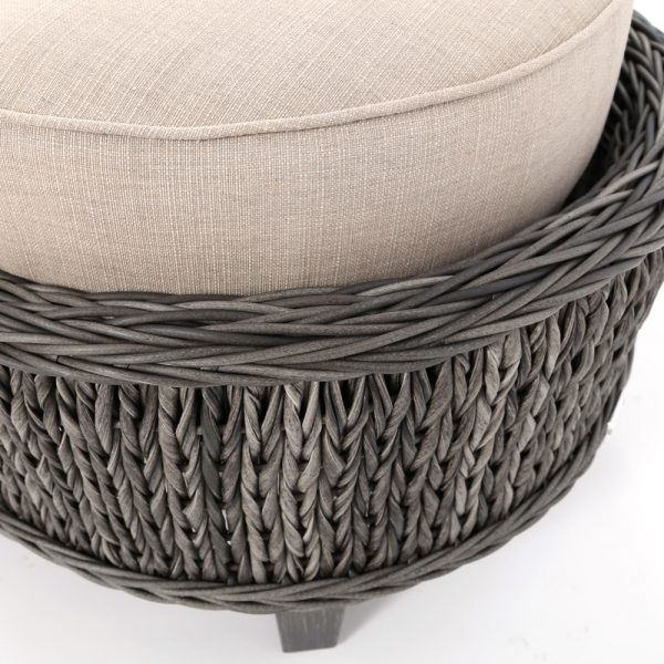 Ebel Geneva wicker ottoman with a Smoke finish
