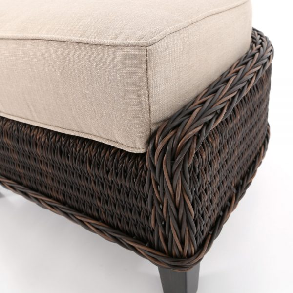 Ebel Geneva outdoor ottoman with a Chestnut wicker finish