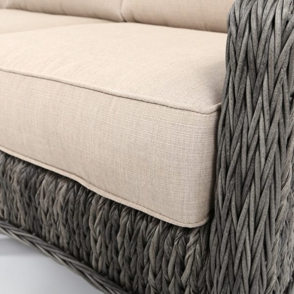 Ebel Geneva wicker sofa with Echo Dune Sunbrella cushions