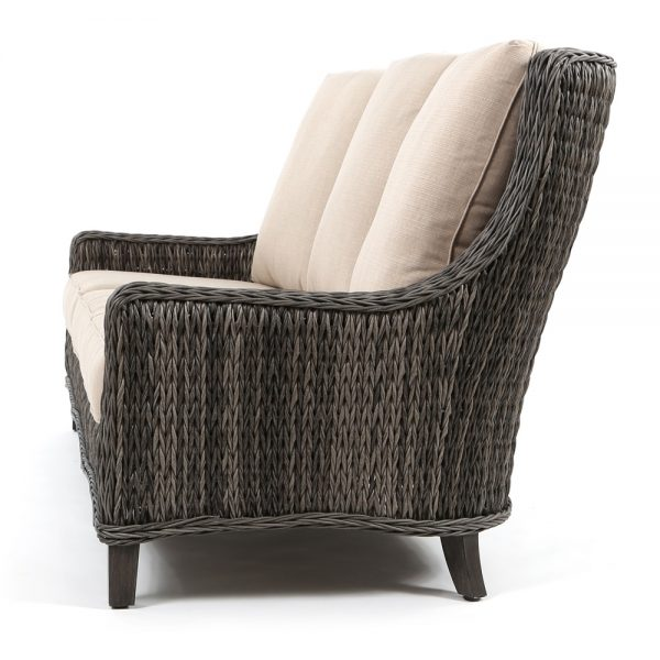 Geneva wicker patio sofa side view