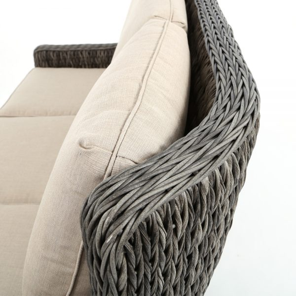 Ebel Geneva wicker couch with a Smoke finish