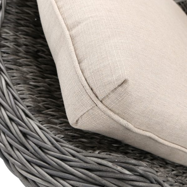Ebel Geneva wicker swivel club chair with Echo Dune Sunbrella fabric