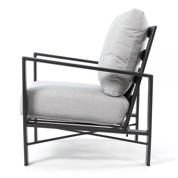 Gios wrought iron club chair side view
