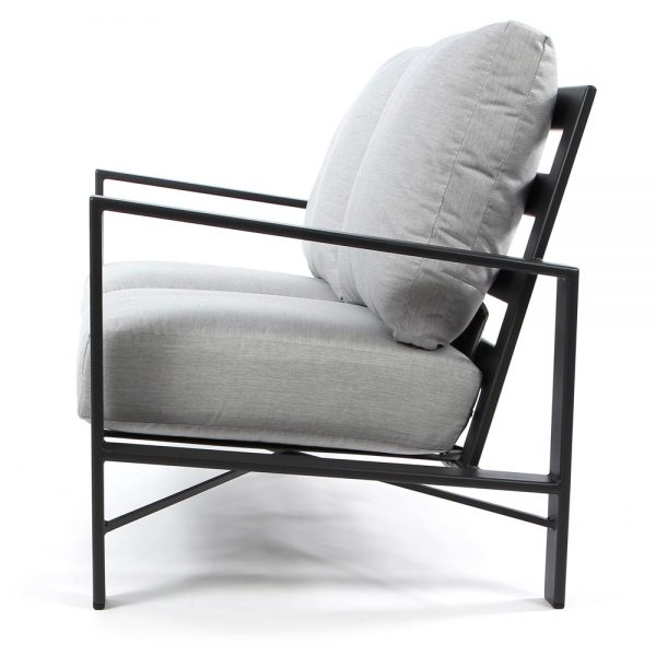 OW Lee wrought iron outdoor love seat side view