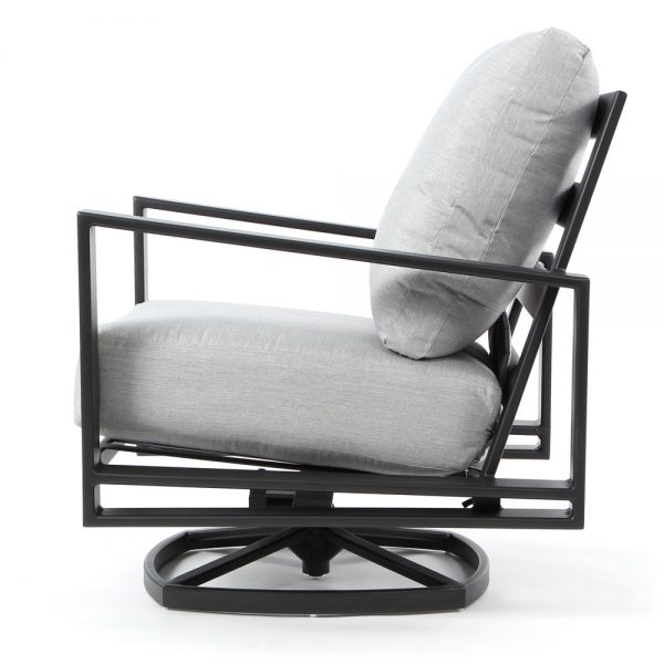 Gios wrought iron swivel lounge chair side view